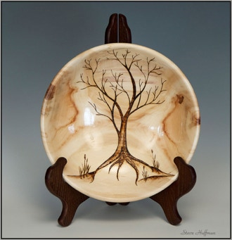 Aspen Wood Bowl Tree Woodturning Pyrography