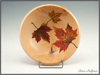 Sycamore Bowl Airbrushed Wood Dye Woodturning Leaf