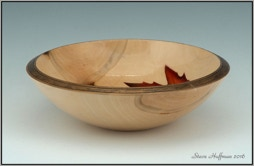 Sycamore Bowl Airbrushed Wood Dye Woodturning For Sale
