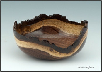 Black Walnut Wood Bowl Natural Live Edge Woodturning