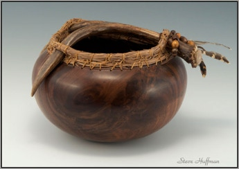 Black Walnut Bowl Deer Antler for sale Woodturning Wood