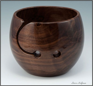 Black Walnut Wooden Yarn Bowl Woodturning For Sale