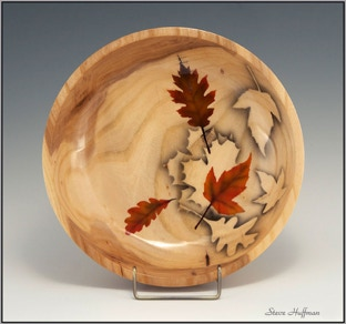 Elm Wood Bowl Airbrushed Leaves Woodturning Leaf