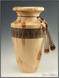 Aspen Wood Vase with Rattlesnake Skin Band, Ruffed Grouse Feathers Woodturning